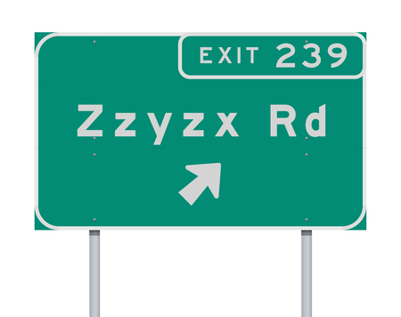 Zzyzx Route Exit direction Road sign