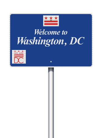 Welcome to Washington DC road sign Illustration