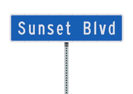 Sunset Boulevard road sign Illusztráció