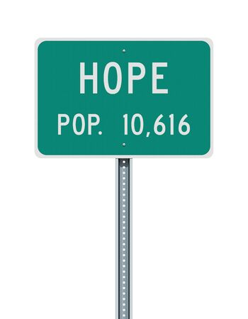 Hope city population road sign