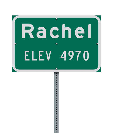 Vector illustration of the Rachel City Limit green road sign
