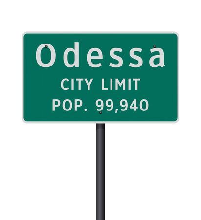Vector illustration of the Odessa City Limit green road sign