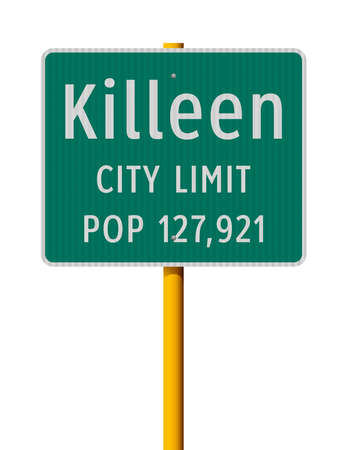 Vector illustration of the Killeen City Limit green road sign