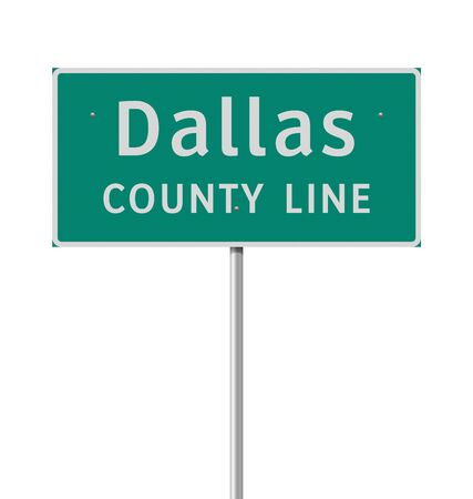 Vector illustration of the Dallas County Line green road sign