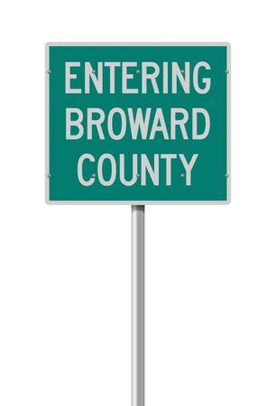Vector illustration of the Entering Broward County green road sign Vetores