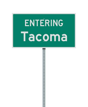 Vector illustration of the Entering Tacoma green road sign Çizim