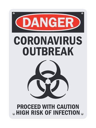 Vector illustration of the Coronavirus Outbreak Danger sign Ilustração