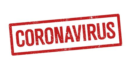 Vector illustration of the word Coronavirus in red ink stamp