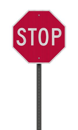 Realistic vector illustration of the red Stop road sign with reflective effect