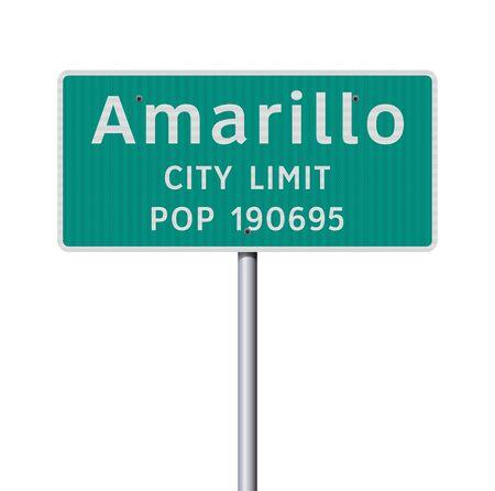 Vector illustration of Amarillo City Limit green road sign