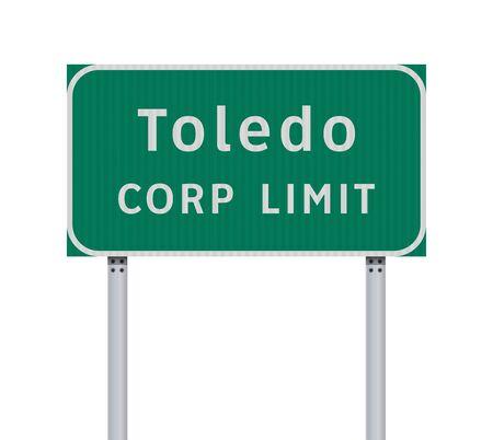 Vector illustration of Toledo Corp Limit green road sign Illusztráció