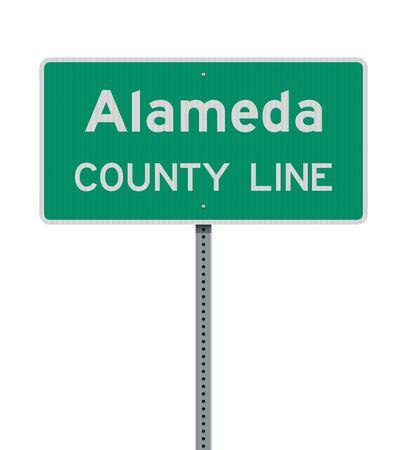 Vector illustration of Alameda County Line green road sign