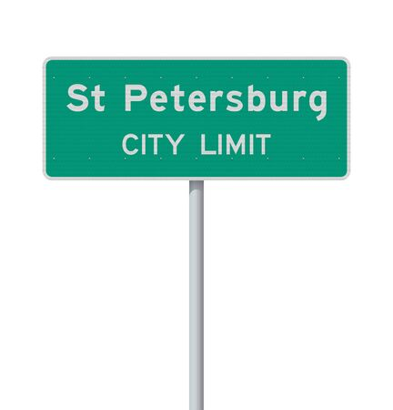 Vector illustration of St Petersburg City Limit green road sign on metallic pole