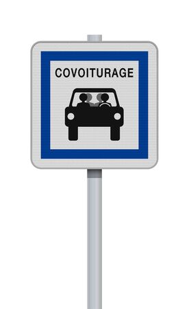 Vector illustration of the French carpool road sign on metallic post Illustration