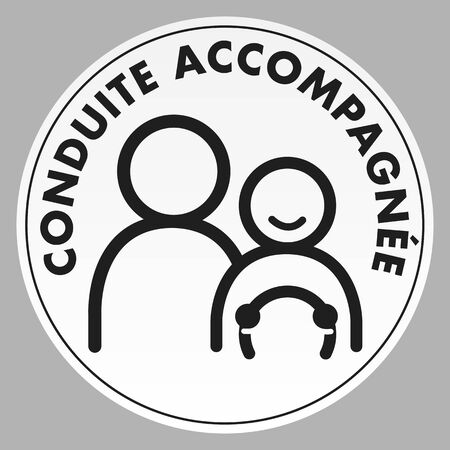 Vector illustration of the French accompanied driving sticker