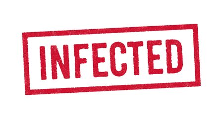 Vector illustration of the Infected red ink stamp