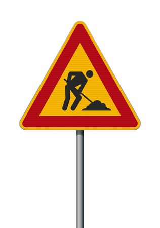 Vector illustration of the Men At Work triangular road sign on metallic post
