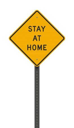 Vector illustration of the Stay at home yellow road sign