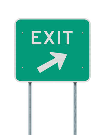 Vector illustration of the Exit direction arrow to the right green road sign on metallic posts