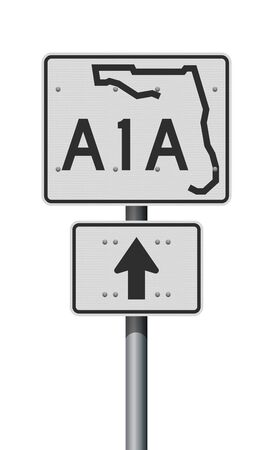 Vector illustration of the Florida State Highway white road sign on metallic pole