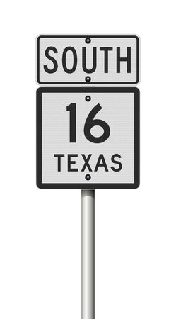 Vector illustration of the Texas State Highway road sign on metallic pole 向量圖像