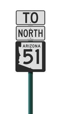 Vector illustration of the Arizona State Highway road sign on metallic green pole