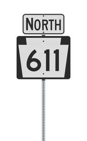 Vector illustration of the Pennsylvania State Highway road sign on metallic post