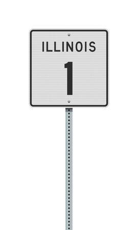 Vector illustration of the Illinois State Highway road sign on metallic post Ilustração