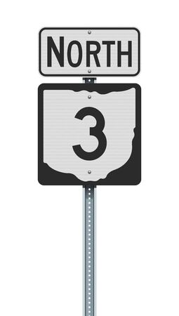 Vector illustration of the Ohio State Highway road sign on metallic post