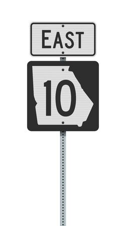 Vector illustration of the Georgia State Highway road sign on metallic post