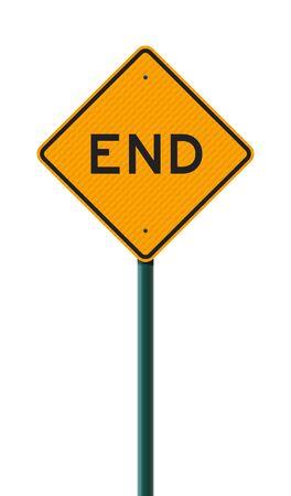 Vector illustration of the End Diamond Shape Yellow road sign on metallic post Ilustração