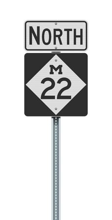 Vector illustration of the Michigan State Highway road sign on metallic post