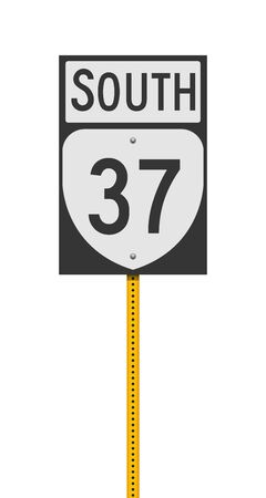 Vector illustration of the Virginia State Highway road sign on metallic yellow post 向量圖像