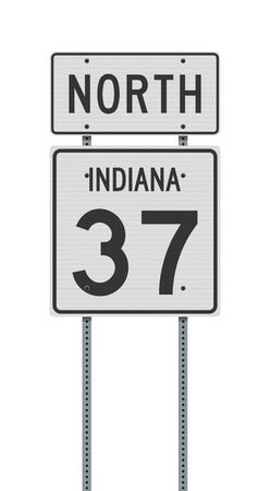Vector illustration of the Indiana State Highway road sign on metallic posts