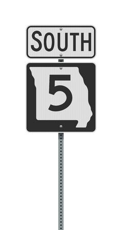 Vector illustration of the Missouri State Highway road sign on metallic post Ilustração