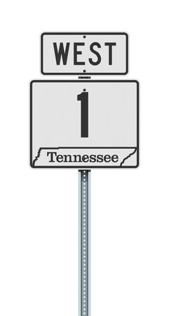 Vector illustration of the Tennessee State Highway road sign on metallic post