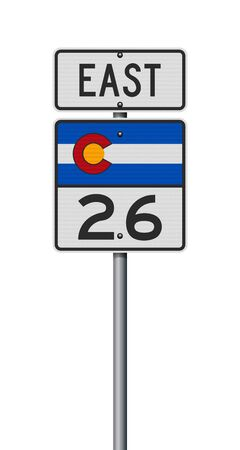 Vector illustration of the Colorado State Highway road sign on metallic post 向量圖像
