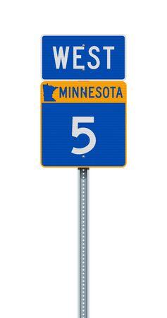 Vector illustration of the Minnesota State Highway road sign on metallic post
