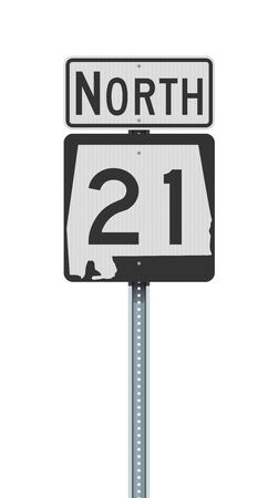 Vector illustration of the Alabama State Highway road sign on metallic post 向量圖像