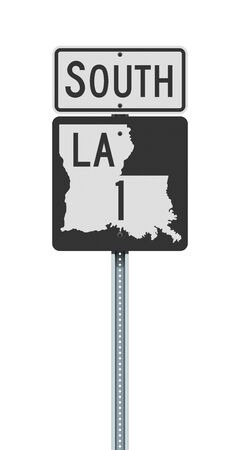 Vector illustration of the Louisiana State Highway road sign on metallic post