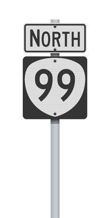 Vector illustration of the Oregon State Highway road sign on metallic post
