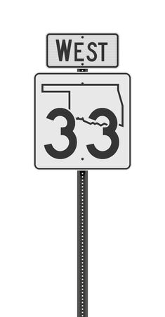 Vector illustration of the Oklahoma State Highway road sign on metallic post