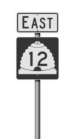Vector illustration of the Utah State Highway road sign on metallic post