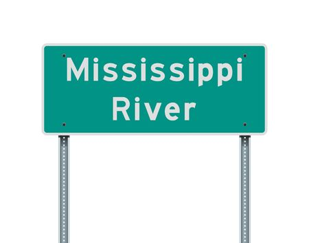 Vector illustration of the Mississippi River road sign on metallic posts