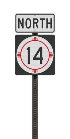 Vector illustration of the New Mexico State Highway road sign on metallic post