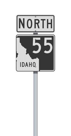 Vector illustration of the Idaho State Highway road sign on metallic post