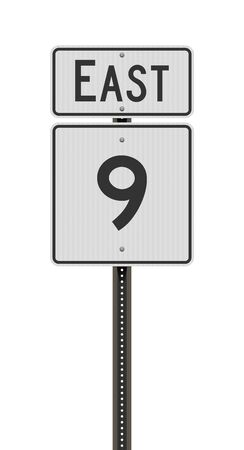 Vector illustration of the Maine State Highway 9 and East road signs on metallic post 向量圖像