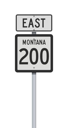 Vector illustration of the Montana State Highway 200 and East road signs on metallic post
