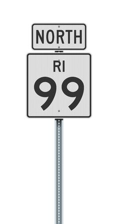 Vector illustration of the Rhode Island State Highway 99 and North road signs on metallic post