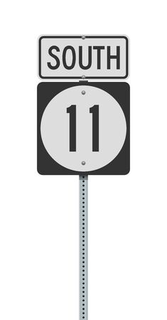 Vector illustration of the Delaware State Highway 11 and South road sign on metallic post